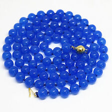 10mm blue sapphire jade round beads women necklace 48""