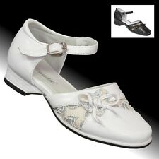 Festliche Glitzer Klacker Schuhe Mädchen Sandale Brautschuhe Kinder Blumen 397