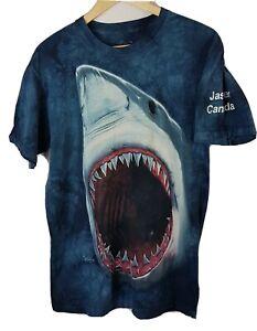 Mens The Mountain Shark Medium T Shirt Blue 2009 Vincent Hie Size M Tie Dye