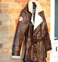 Battle Coat Distressed Brown Costume Jacket Real Leather Trench / XS-5X & Custum