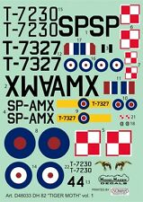 DH-82 TIGER MOTH - POLISH AF & RAF MARKINGS #48033 1/48 MODELMAKER (pzl)