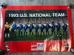 USA Mens Soccer National Team USMNT Vintage 1993 poster Coca-Cola 1994 World Cup