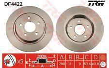 TRW Juego de 2 discos freno Trasero 280mm FORD FOCUS C-MAX VOLVO S40 C70 DF4422