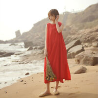 Lady Sleeveless Dress Layers Pleated Waist Drawstring Loose Baggy Long Maxi Red