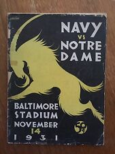 "1931""ROCKNE""DAY Notre Dame v Navy KNUTE ROCKNE HISTORIC TRIBUTE football Program"