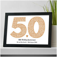 Golden Wedding Anniversary PERSONALISED 50th Wedding Anniversary Mr & Mrs Gifts