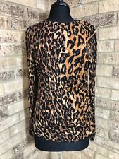 Carlisle LEOPARD Print TOP Long Sleeve Ruched Side Women's Size XL