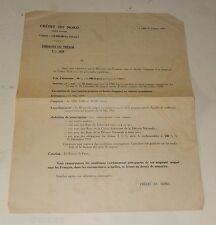 LETTRE d'Information CREDIT du NORD 1939 pour Emission d'un EMPRUNT du TRESOR