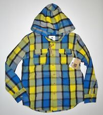 New Burton Boys Bernidge Hooded Flannel Button Up Casual Shirt Size Medium 10/12