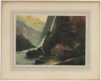 VINTAGE OLD COLOR LITHOGRAPH CABIN WOODS WATERFALL WOMAN MOUNTAINS STREAM PRINT