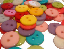20 x ROUND MIX 2 HOLE 11mm RESIN SEWING BUTTONS FOR CRAFT HOBBYS