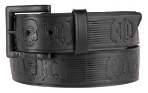 Harley-Davidson Men's Embossed Skull Reaper Genuine Leather Belt HDMBT11209 S:32