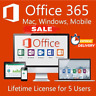 MS Office 365 Pro 5 PC 5 MAC office2019/2016 Lifetime - New Account -Complete