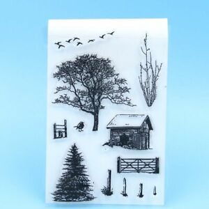 Trees Transparent Clear Rubber Roller Stamp DIY Scrapbooking Card Making Decor