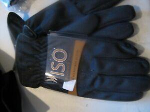 Isotoner gloves Mens brushed micro fiber Black fur lined  Large