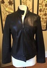 Calvin Klein Buttery Soft Leather Clean Moto Black Jacket M