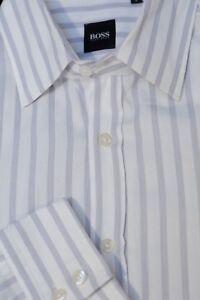 Hugo Boss Men's White & Navy Stripe Cotton Casual Shirt L Large