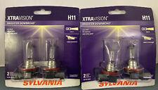 2 Sylvania XTRAVision H11 Brighter Downroad 2 Halogen Lamp Bulbs. New, Sealed.