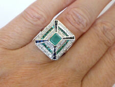 Vintage Insp Art Deco Ring Emerald Sapphire Diamond White Gold R602