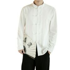 Men's Chinese style Cotton Shirt Stand Collar Loose Fit Plain Casual Blouses L