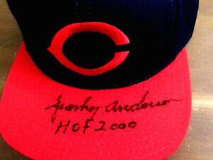 SPARKY ANDERSON HOF 2000 WSC REDS SIGNED AUTO VINTAGE AMER. NEEDLE CAP HAT JSA