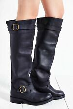 JEFFREY CAMPBELL SHOES WISHLIST ENGINEER TALL BOOT BLACK PATENT LEATHER $290 8
