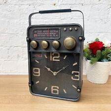 Vintage Retro Industrial Metal Home Office Radio Table Desk Mantle Clock Gift