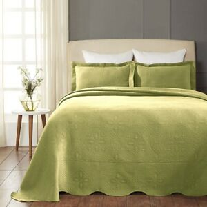 Superior Scalloped Bedspread Celtic Circles Design Sweet Pea 2-pc Twin Cotton