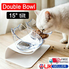 More details for pet dog cat double bowls raised stand feeding food water non-slip tilted feeder