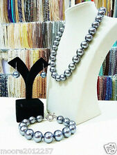 14mm round Huge silver Gray South Sea Shell Pearl Necklace Bracelet Earrings Set