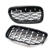 Fit for BMW E90 09-11 Grille Shiny Black w/ Chrome Diamond Meteor Style Gril