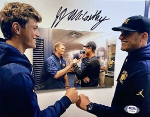 JJ MCCARTHY #9 SIGNED MICHIGAN WOLVERINES FOOTBALL 8x10 PHOTO PSA/DNA
