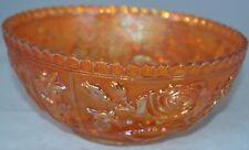Vintage Depression Carnival Glass Orange Serving Bowl Flower Rose Box 5 Marigold