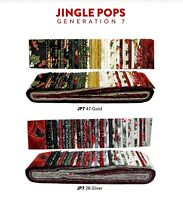 "Hoffman, Christmas Jingle Pop Gold Metallic, 2.5"" Precut Fabric Quilting Strips"