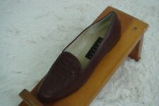 Amalfi Italy Size 7.5 AAA Loafer Vamp Weave Women Brown Leather Shoe
