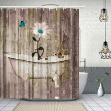 Shabby Chic Daisy Floral Butterfly Rustic Boho Farmhouse Fabric Shower Curtain