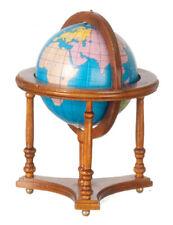 Miniature Dollhouse Globe In Wood Walnut Stand 1:12 Scale New