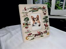 Vintage Needlepoint Equestrian Fox Hunting Hounds Picture Frame,W/Corgi,12 X 10