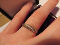 925 Sterling Silber Ring Designer Geriffelt Geflochten Seil Retro Etwas Verbogen