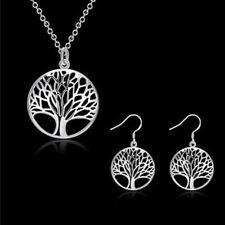 Boucles d'oreilles et pendentif, motif arbre, plaqué argent 925, neufs