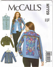 Denim Yoke Jacket Vest Cropped Jacket McCalls Sewing Pattern Plus 14 16 18 20 22