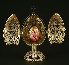 """St Petersburg Russian Faberge Egg: Filigree Religious Egg with Madonna, 4"""""""