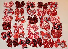 30 size SM-MED all RED Print Dog Bows Grooming bows top quality ribbons USA NEW