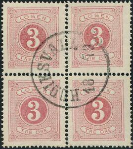Sweden 1874 3 ore Postage Due Stamp Scott J2 Used Block of 4 CV$160+