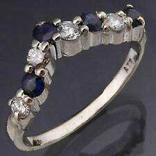 Asymmetric V Natural SAPPHIRE & DIAMOND 18k Solid WHITE GOLD ETERNITY RING Sz P