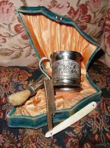 Antique 1880s Mens Victorian Saving Set in Velvet Box Silver Cup, Razor & Brush