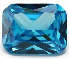 8x10MM 3.09CT AAAAA Natural Emerald Sea Blue Zircon Diamond Cut VVS Loose Gems