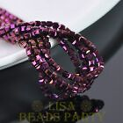 100pcs 4mm Cube Square Faceted Crystal Glass Loose Spacer Beads Purple Plated