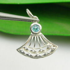 Oriental Fan Gem Pendant Natural Blue Topaz, Genuine 925 Sterling Silver - P97