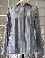 MOSSIMO NWT Women's Blue White Stripe Button Down Shirt Top Blouse Pockets  S